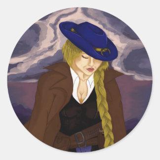 Die Dame Gunslinger Runder Aufkleber