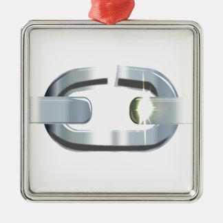 Die defekte Verbindung Quadratisches Silberfarbenes Ornament