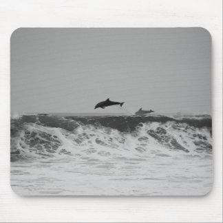 Die Delphine springend durch Wellen in Schwarzem Mousepad