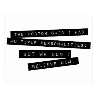Die Doktor Said I Have mehrfachen Persönlichkeiten Postkarte
