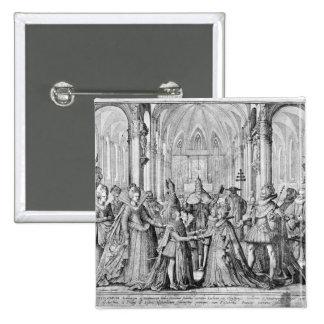 Die doppelte Heirat in Louis XIII zu Anne Quadratischer Button 5,1 Cm