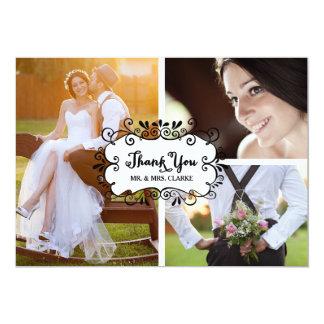 Die drei Foto-Collagen-rustikale Hochzeit danken 12,7 X 17,8 Cm Einladungskarte