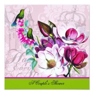 Die Duschen-Einladung des Kolibri-Magnolien-Paares Quadratische 13,3 Cm Einladungskarte