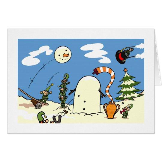 Die Elfe machen einen Schneemann Karte