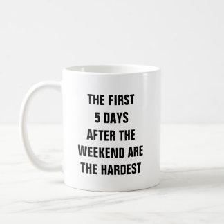Die ersten 5 Tage nach dem Wochenende sind das Tasse