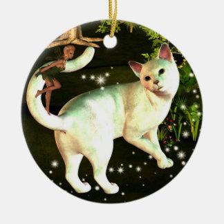 Die Fee und die Katzenverzierung Keramik Ornament