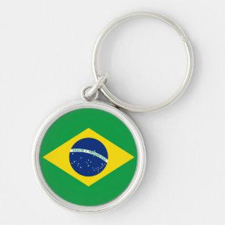 Die Flagge von Brasilien Silberfarbener Runder Schlüsselanhänger