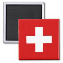 Die Flagge von der Schweiz Quadratischer Magnet