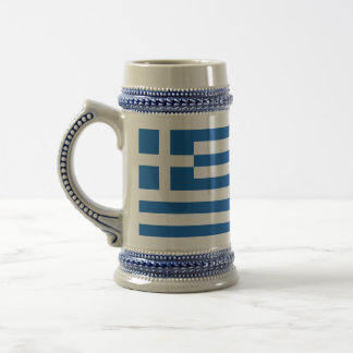 Die Flagge von Griechenland Bierglas