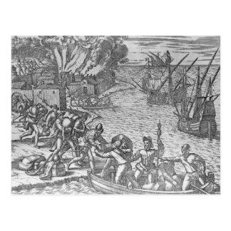 Die französische plündernde Flotte Postkarte