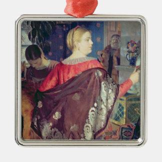 Die Frau des Kaufmannes mit einem Spiegel Quadratisches Silberfarbenes Ornament