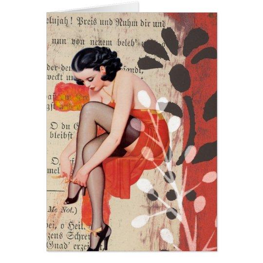 Die Frau in der roten Wäsche, Geburtstag Karte