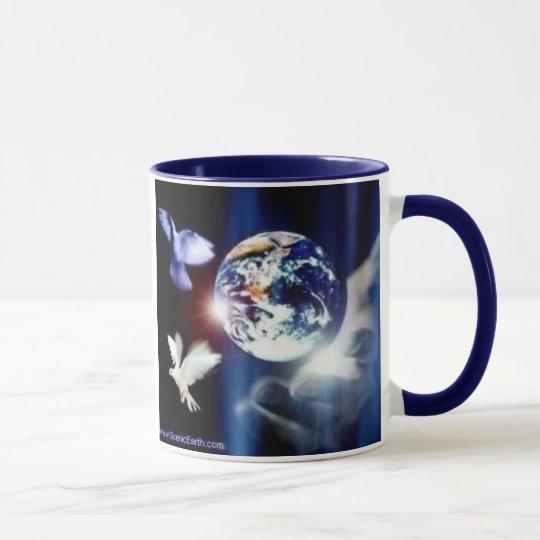 Die ganze Welt in seiner Handkaffee-Tasse Tasse
