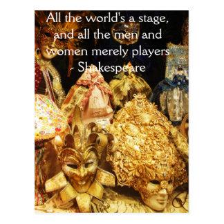 Die ganze Welt ist ein Bühne Shakespeare-Zitat Postkarte