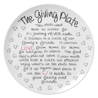 Die gebende Platte Teller
