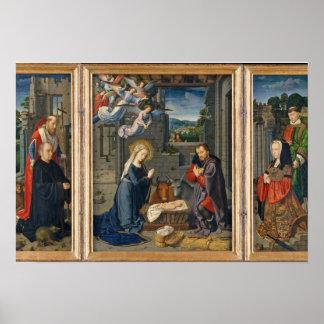 Die Geburt Christis-Szene mit Spendern und Poster