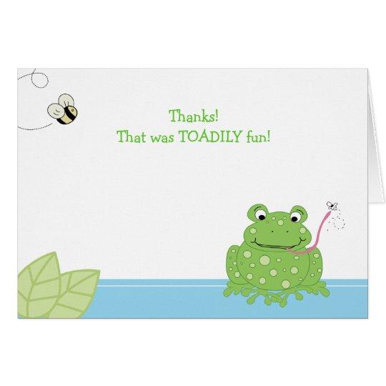 Die gefaltete TOADILY Spaß-Frosch/Biene danken Karte