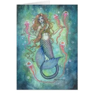 Die Gelees Meerjungfrau und Quallen-Fantasie-Kunst Karte