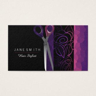 Die Girly lila und rosa Rose scissor Entwurf Visitenkarte