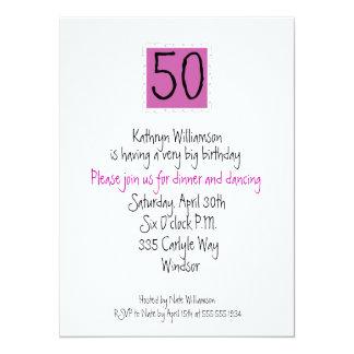 Die glückliche fünfzigste Geburtstags-Einladung 14 X 19,5 Cm Einladungskarte