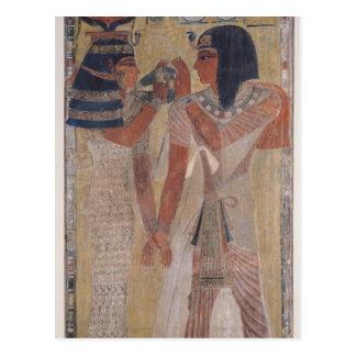 Die Göttin Hathor, der den magischen Kragen setzt Postkarte
