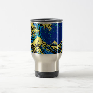 Die große Hokusai Welle im Pop-Kunst-Art-Akzent Edelstahl Thermotasse