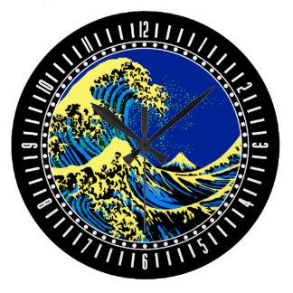 Die große Hokusai Welle in der Pop-Kunst-Art-Skala Wanduhr