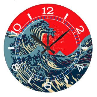 Die große Hokusai Welle in der Pop-Kunst-Art-Skala Wanduhren