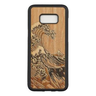 Die große Hokusai Wellen-hölzerne Carved Samsung Galaxy S8+ Hülle