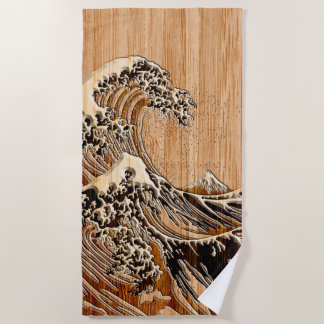 Die große Hokusai Wellen-hölzerne Strandtuch