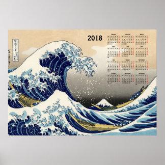 Die große Welle weg von Kalender Kanagawa 2018 Poster