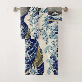 Die große Welle weg von Kanagawa Badhandtuch Set