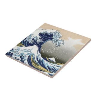 Die große Welle weg von Kanagawa Kleine Quadratische Fliese