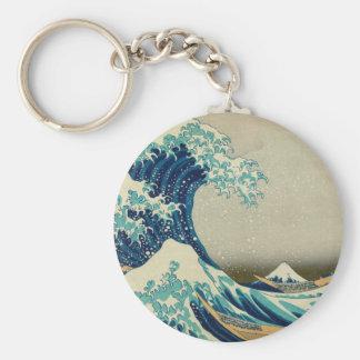 Die große Welle weg von Kanagawa Standard Runder Schlüsselanhänger