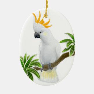 Die größere zitronengelbe Cockatoo-Verzierung Keramik Ornament