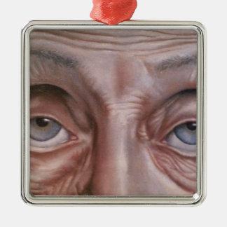Die Großmutter Quadratisches Silberfarbenes Ornament