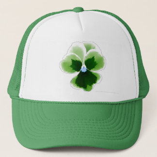 Die grüne Editable Pansy-Blume addieren Ihre Truckerkappe