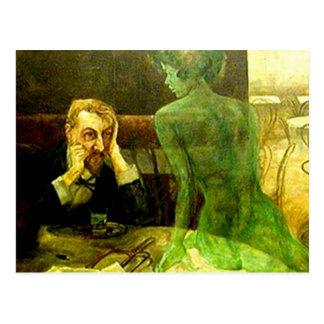 Die grüne Fee: Wermut Postkarte