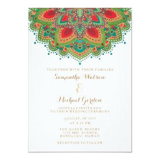 Die grüne Mandala-Hochzeits-Einladungs-Karte Karte