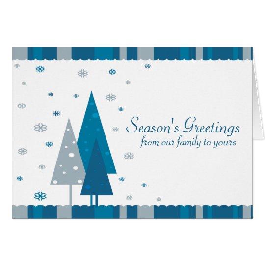 Die Gruß-Blau-Bäume der Jahreszeit Grußkarte