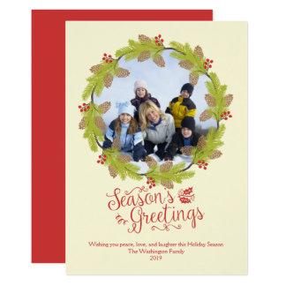 Die Gruß-WeihnachtsFoto-Stechpalme Wreath der 12,7 X 17,8 Cm Einladungskarte