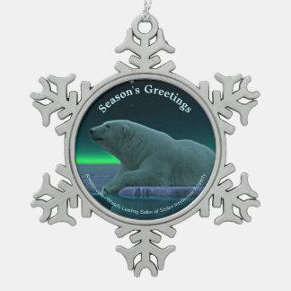 Die Grüße der Jahreszeit - Eis-Rand-Eisbär Schneeflocken Zinn-Ornament