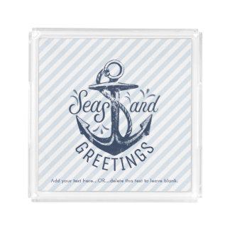 Die Grüße der Seejahreszeit, Marine-Blau Striped Acryl Tablett