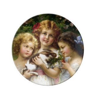 Die Haustier-Kaninchen-Porzellan-Platte Porzellanteller