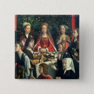 Die Heirat bei Cana, Detail der Braut und des surr Quadratischer Button 5,1 Cm