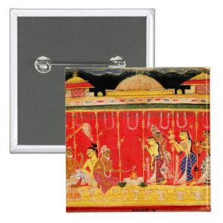 Die Heirat von Krishnas Eltern, von einer Zerstreu Quadratischer Button 5,1 Cm
