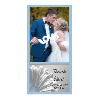 Die hellblauen Wedding Blumenhöhepunkte danken Karte