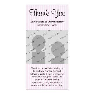 Die hellrosa Wedding Streifen danken Ihnen Fotokartenvorlagen