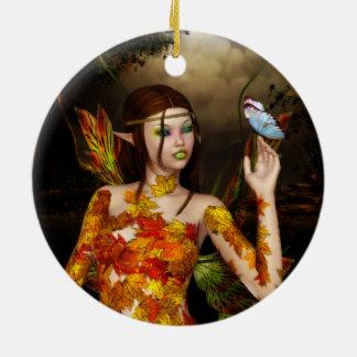 Die herbstliche Feen-runde Verzierung Keramik Ornament