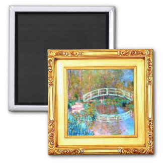Die japanische Brücke durch Claude Monet-Magneten Quadratischer Magnet
